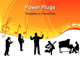 PowerPoint template displaying silhouette of orchestra with conductor and music notes with symbols