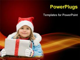 PowerPoint template displaying happy Christmas time - portrait of cute girl in Christmas sled