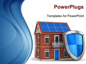 PowerPoint template displaying residential house covered by protection shield