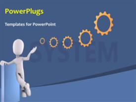 PowerPoint template displaying a figure with a number of gears and bluish background