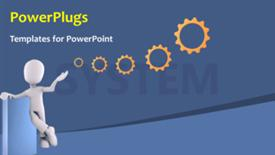 PowerPoint template displaying a figure with a number of gears and bluish background - widescreen format