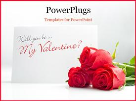 PowerPoint template displaying a bunch of red roses beside a valentine card