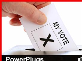 PowerPoint template displaying hand placing a voting slip into a ballot box over a white background