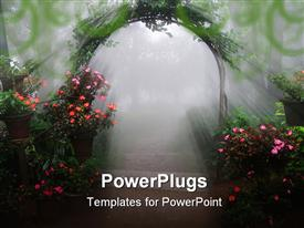PowerPoint template displaying foggy entrance filled with flowers and rays of light