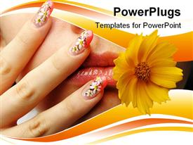 Female face close up c flower in a mouth and nail art. Figure of chamomiles on nails powerpoint template