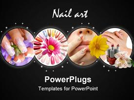 Acrylic nails, with an artistic drawing high template for powerpoint