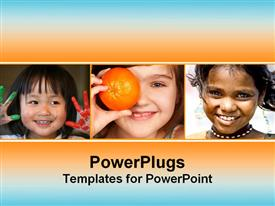 PowerPoint template displaying collage of girls faces smiling in the background.