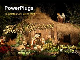 PowerPoint template displaying christmas decorations with beautiful flowers and angel watching over manger