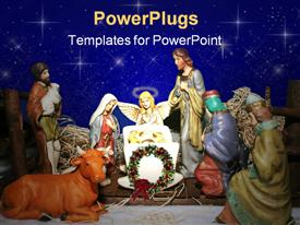 PowerPoint template displaying nativity scene with blue starry sky background