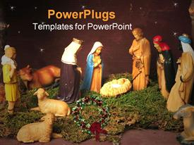 PowerPoint template displaying nativity scene in manger with three wise men