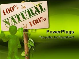 100 percent natural sign message on a wooden panel and green plant powerpoint design layout