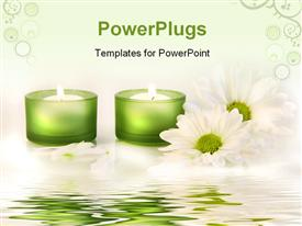 PowerPoint template displaying a number of candle lights in the background