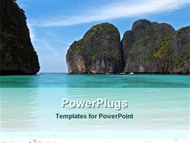 PowerPoint template displaying beach and mountain