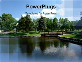 PowerPoint template displaying a landscape view of a park with trees and a  river