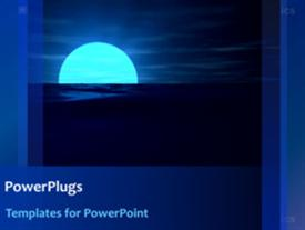 PowerPoint template displaying a bluish background with a moon