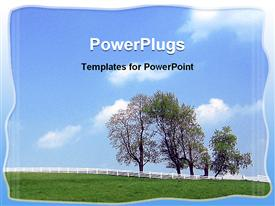 PowerPoint template displaying day light view of a natural landscape with blue skies