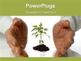 PowerPoint template displaying growing plants garden artificial life labs science environment sustainability