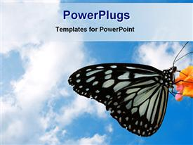 PowerPoint template displaying a butterfly sitting on a flower