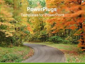 PowerPoint template displaying country road leading through forest with trees and grass in autumn scenery