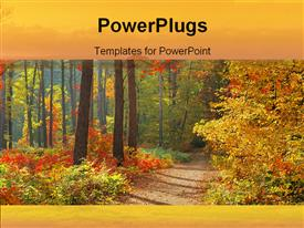 PowerPoint template displaying color of Fall in the background.