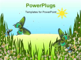 PowerPoint template displaying digital rendering of a pair of butterflies against a landscape background
