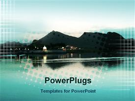 PowerPoint template displaying evening of historical hill station with place in water in the background.