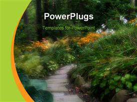 PowerPoint template displaying narrow footpath in the middle of a garden with colorful flowrs