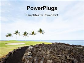 PowerPoint template displaying green Hawaiian Golf Course on Lava Ocean Shore of Kona Island
