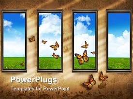 PowerPoint template displaying four windows showing landscape with butterflies