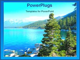 PowerPoint template displaying lake surrounded by mountains