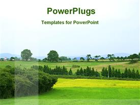 PowerPoint template displaying green landscape with trees, field, fence, sky