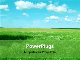 PowerPoint template displaying landscape with green field, blue sky and white clouds, nature
