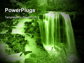 PowerPoint template displaying large Waterfall in Forest