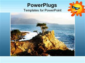 PowerPoint template displaying natural day time view of a rocky landscape surrounded by ocean