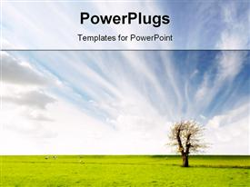 PowerPoint template displaying a tree with a lot of grass and clouds in the background
