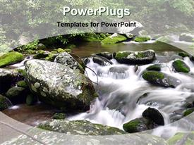 PowerPoint template displaying lose mountain stream