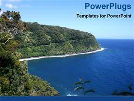 PowerPoint template displaying landscape of Maui Hawaiian Island with ocean, hills and trees, travel