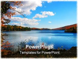 Meech lake in the Gatineau hills, Quebec, photographed in autumn powerpoint design layout