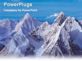 PowerPoint template displaying purple and blue mountain ranges skyline birds eye view