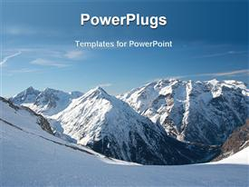 PowerPoint template displaying mountains covered with snow