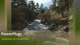 PowerPoint template displaying a video of a running lake in its natural habitat - widescreen format