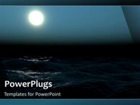 PowerPoint template displaying video of ocean water at night with full moon on the sky on first slide and non-video on following slides