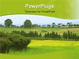 PowerPoint template displaying scenery of nature with green lawns and trees in distance