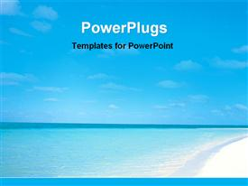 PowerPoint template displaying pleasant view of a blue sea beach in the background.