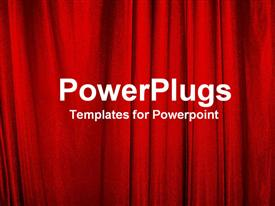 PowerPoint template displaying red curtains in the background.