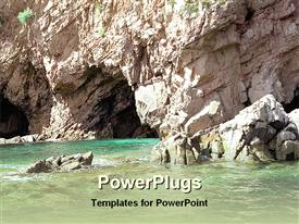 PowerPoint template displaying river running along a rocky mountain