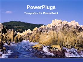 PowerPoint template displaying rocks beside the sea