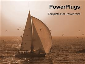 PowerPoint template displaying boat out in an open sea with birds flying around
