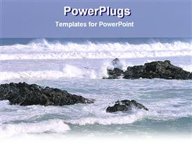 PowerPoint template displaying a number of rocks insides the sea