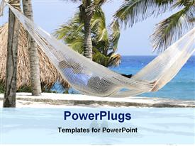 PowerPoint template displaying a person sleeping on the beach